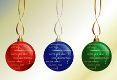 Happy New Year in different languages. Set of Christmas Balls with Happy New Year in different languages Royalty Free Stock Photos