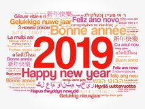 2019 Happy New Year in different languages. Celebration word cloud greeting card vector illustration