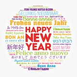 Happy New Year in different languages. Celebration word cloud greeting card stock illustration