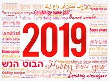 2019 Happy New Year in different languages. Celebration word cloud greeting card stock illustration