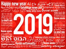 2019 Happy New Year in different languages. Celebration word cloud greeting card royalty free illustration