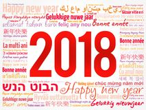 2018 Happy New Year. In different languages, celebration word cloud greeting card stock illustration