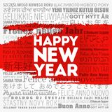 Happy New Year in different languages. Celebration word cloud greeting card royalty free illustration