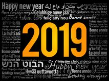 2019 Happy New Year in different languages royalty free stock photos