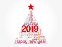 2019 Happy New Year in different languages. Celebration word cloud greeting card in the shape of a christmas tree stock illustration