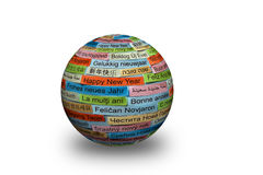 Happy New Year on different languages 3d ball. Happy New Year Word Cloud printed on colorful paper different languages stock photo