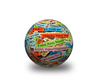Happy New Year on  different languages 3d ball. Happy New Year  Word Cloud printed on colorful paper different languages on 3d sphere Stock Photos