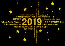 Happy New Year 2019 in different languages. Greeting card concept stock illustration