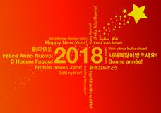 Happy New Year in different languages greeting card concept. With red background and stars vector illustration