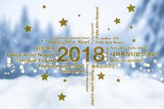 Happy New Year in different languages greeting card concept with snowy winter landscape. In blured background royalty free illustration