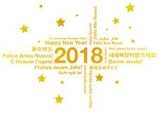Happy New Year in different languages greeting card concept Stock Photos