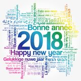 2018 Happy New Year in different languages. Celebration word cloud greeting card royalty free illustration