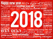 2018 Happy New Year in different languages. Celebration word cloud greeting card vector illustration