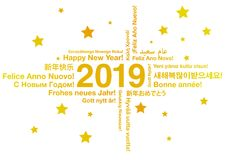 Happy New Year 2019 in different languages. Greeting card concept royalty free illustration
