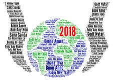 Happy New Year 2018 in different languages Stock Images