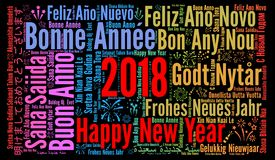 Happy New Year 2018 in different languages Stock Photo