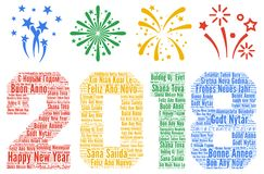 Happy New Year 2018 in different languages Royalty Free Stock Image