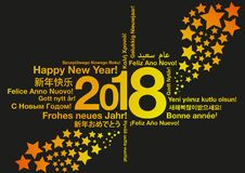 Happy New Year in different languages with stars. Greeting card concept vector illustration