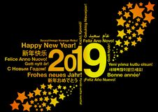 Happy New Year 2019 in different languages. Word cloud greeting card concept royalty free illustration