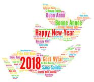 Happy New Year 2018 in different languages Royalty Free Stock Photo