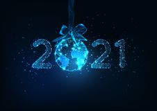 Free Happy New Year Digital Web Banner With Futuristic 2021 Number And Earth Globe Hanging On Ribbon Bow Stock Photo - 167209890