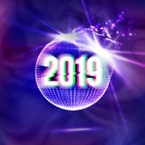 2019 Happy New Year Disco Background Vector. Decoration Element. Futuristic Glowing Neon Light Sphere. Christmas Light. Rays Illustration stock illustration