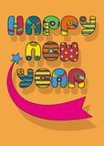 Happy New Year. Disco font. Happy New Year. Inscription by artistic font. Colorful disco letters. Blue star with pink tail with place for custom text. Best royalty free illustration
