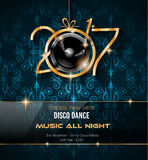 2017 Happy New Year Disco Party Background for your Flyers. And Greetings Card. Ideal to use for parties invitation, Dinner invitation, Christmas Meeting events Royalty Free Stock Images