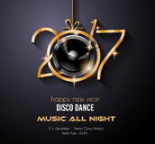 2017 Happy New Year Disco Party Background for your Flyers. And Greetings Card. Ideal to use for parties invitation, Dinner invitation, Christmas Meeting events Vector Illustration