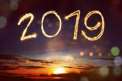 decorate with shells with copy space happy new year 2019 2019 display from colorful fireworks on the sky happy new