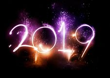 2019 Fireworks party - New Year Display!. Happy New Year! 2019 displayed with fireworks and strobes. Celebrations concept royalty free stock image