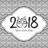 Happy new year of the dog card, vector illustration Stock Photos