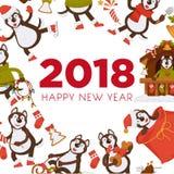 Happy New Year 2018 dog cartoon celebrating holiday vector greeting card. Happy New Year 2018 cartoon dog celebrating holidays greeting card design template Royalty Free Stock Image