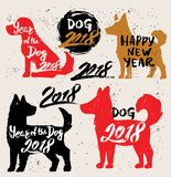 Happy New Year 2018 dog chines new year. Artwork website. Vector illustration Stock Image