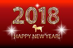 Happy new year 2018 dog chinese symbol. Vector image template vector illustration