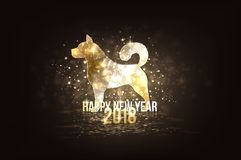 Happy new year 2018 - year of dog. Happy New Year 2018 colorful greeting card made in polygonal origami style. Party poster, greeting card, banner or invitation Royalty Free Stock Images