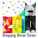 Happy New Year 2018. Year of dog. Greeting Card design. Vector eps 10. For your design royalty free illustration