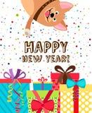Happy new year dog invitation Royalty Free Stock Images