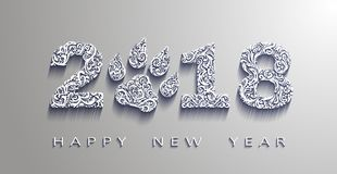Happy new year 2018, the year of the dog.Vector white paper. Design elements for holiday cards. Happy new year 2018, the year of the dog.3d effect Vector white stock illustration