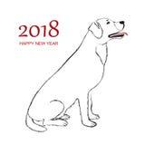 Happy New Year 2018 Dog Stock Photos