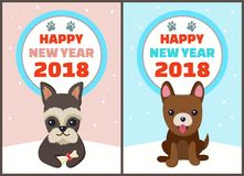 Happy New Year 2018 Dogs Set Vector Illustration. Happy New Year 2018 dogs set, posters with symbols of approaching period of time, circle and colorful lettering Stock Images