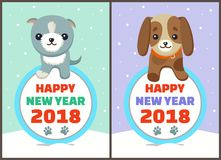 Happy New Year 2018 Dogs Set Vector Illustration. Happy New Year 2018 dogs set, posters with symbols of approaching period of time, circle and colorful lettering Royalty Free Stock Photography