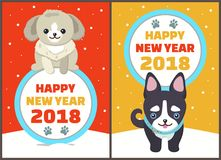 Happy New Year 2018 Dogs Set Vector Illustration. Happy New Year 2018 dogs set, posters with symbols of approaching period of time, circle and colorful lettering Royalty Free Stock Photos