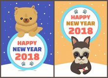 Happy New Year 2018 Dogs Set Vector Illustration. Happy New Year 2018 dogs set, posters with symbols of approaching period of time, circle and colorful lettering Royalty Free Stock Image
