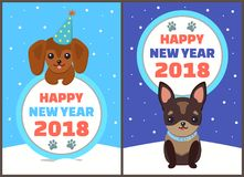Happy New Year 2018 Dogs Set Vector Illustration. Happy New Year 2018 dogs set, posters with symbols of approaching period of time, circle and colorful lettering Stock Image