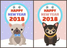 Happy New Year 2018 Dogs Set Vector Illustration. Happy New Year 2018 dogs set, posters with symbols of approaching period of time, circle and colorful lettering Stock Photo