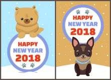 Happy New Year 2018 Dogs Set Vector Illustration. Happy New Year 2018 dogs set, posters with symbols of approaching period of time, circle and colorful lettering Stock Photos