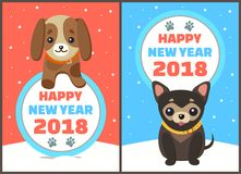 Happy New Year 2018 Dogs Set Vector Illustration. Happy New Year 2018 dogs set, posters with symbols of approaching period of time, circle and colorful lettering Royalty Free Stock Photo