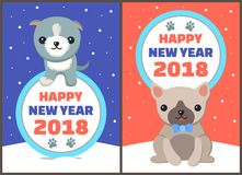 Happy New Year 2018 Dogs Set Vector Illustration. Happy New Year 2018 dogs set, posters with symbols of approaching period of time, circle and colorful lettering Stock Photography