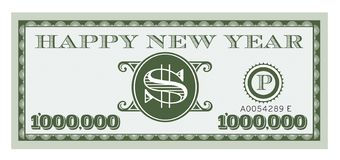 Happy New Year Dollar Bill Vector Design. One Million dollar bill with space for text royalty free illustration